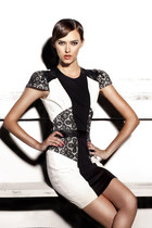 Buttons Remix Dress- Black & White Dress with leather and lace