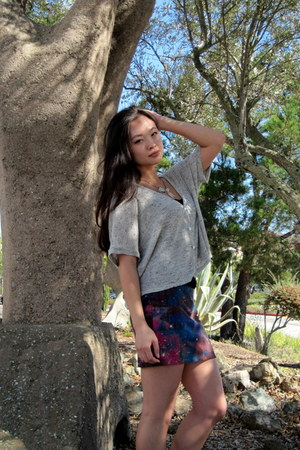 galaxy bodycon Urban Outfitters skirt - loose Goodwill cardigan