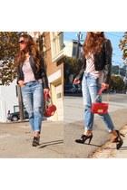 blue abrocrombie jeans - black Stuart Weizmann heels