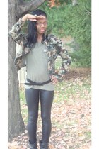 olive green Charlotte Russe shirt - olive green theft store jacket - black Lucay