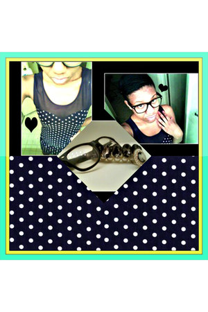 black bracelet - navy polka dot dress dress - white ring