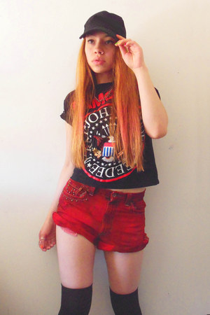 black cotton Ramones Shirt t-shirt - ruby red DIY shorts