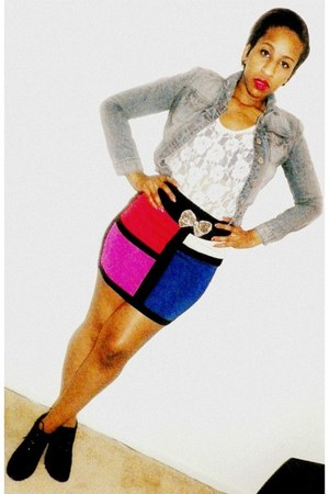 colorful paper tee skirt - suede wedge Steve Madden shoes