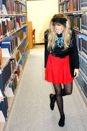 black f21 tights - red Urban Outfitters skirt - black Urban Outfitters shoes - b