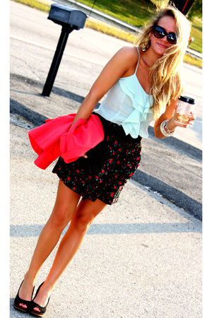 black skirt - red blazer - blue blouse - black belt