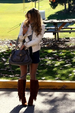 dark brown Michael Kors boots - dark gray Forever 21 bag - cream JouJou jacket -