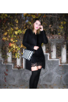 black Sheinside coat - romwe dress - Sheinside bag - DressLink socks