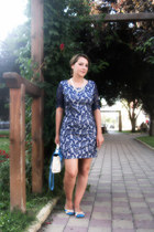 navy DressLink bag - Sheinsidecom dress - navy SuperPantofi flats