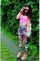 flowers H&M leggings - hot pink Bershka top - H&M wedges
