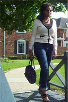 banana republic jeans - Aldo bag - Burlington coat factory heels - H&M cardigan