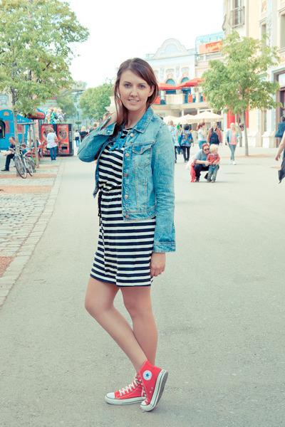 Zara jacket - Converse shoes - H&M dress - APreciouZ necklace