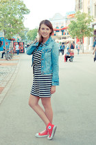 Zara jacket - Converse shoes - H&M dress - APreciouZ necklace