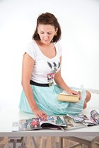 ivory likoli shirt - aquamarine vintage skirt