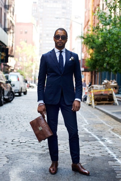 navy suit - leather dunno shoes - white shirt - dark brown bag