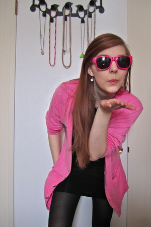 black dress - black HUE tights - hot pink Starkid sunglasses - hot pink wildfox