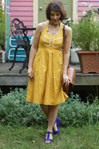 gold embroidered Anthropologie dress - brown leather mexican bag - blue suede Ki