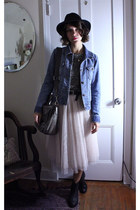 light pink tulle H&M skirt - black H&M boots - black vintage hat