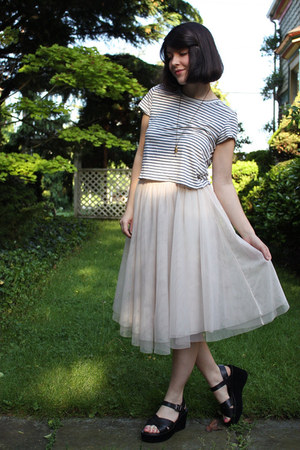blue diy cropped Target t-shirt - light pink H&amp;M skirt - black platform Kork eas