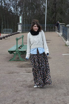 floral romeo & juliet dress - fisherman H&M sweater - denim Uniqlo shirt