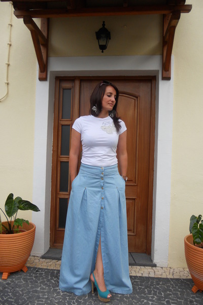 Maxi Blue Jean Skirts - Dress Ala