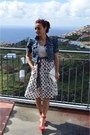 Heather-gray-polka-dot-unbranded-dress-periwinkle-cropped-stradivarius-jacket