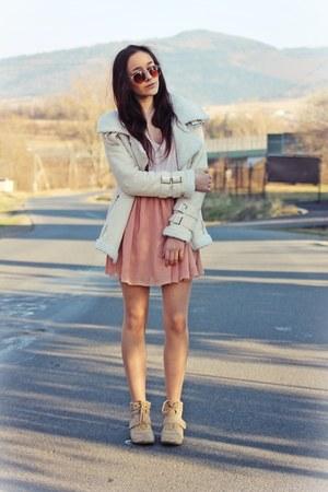 eggshell Beige Lapel Long Sleeve Zipper Wool Coat coat