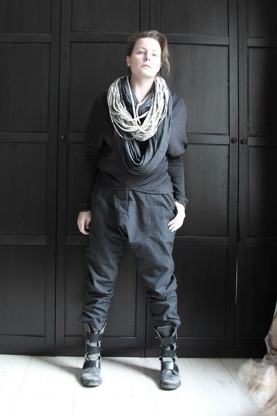 gray All Saints pants - black no idea boots - gray maison martin margiela sweate