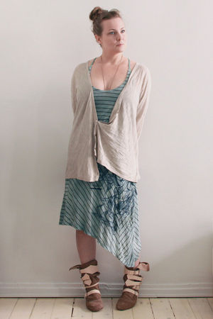 beige H&M cardigan - beige vivienne westwood shoes - green Diesel dress