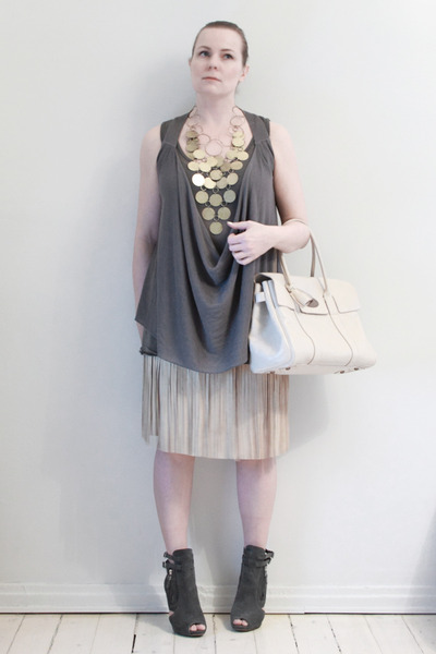 white Mulberry purse - gold H&M necklace - gray Vero Moda vest - gray American A