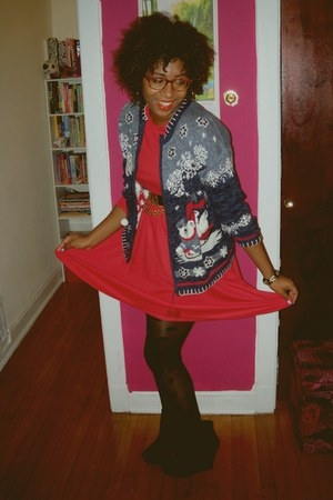 red thrifted vintage dress - black Jeffrey Campbell shoes - navy gifted sweater