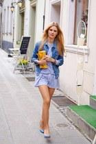 periwinkle fashionatapl dress - navy Zara jacket - yellow new look bag