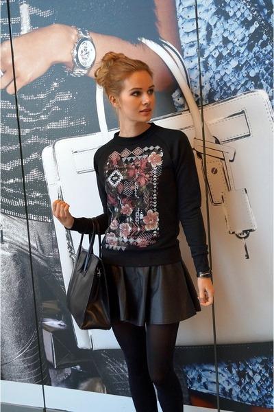 black Gatta tights - black Choies skirt - black are you fashion sweatshirt