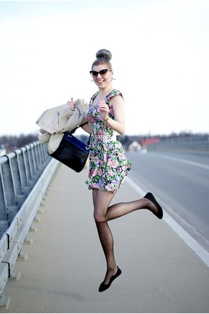 black Lovelywholesale bag - green flower Lucluc dress