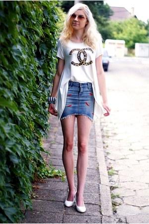cream VIP LOOK top - blue denim romwe skirt