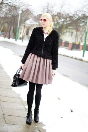 brown virgini skirt - black Mohito boots - black New Yorker jacket