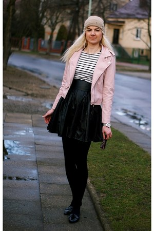 camel Butik hat - light pink Zara jacket - black Choies skirt