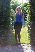 black GINA TRICOT leggings - black Sisters point top - blue unknown blouse