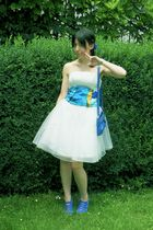 blue random botique shoes - blue D&G bag - white Online Shop dress - blue Botiqu