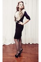 beige cream blouse Rickis blouse - black pumps Aldo shoes - black Lasenza tights