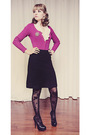 Pink-unknown-cardigan-white-rickis-fashion-blouse-black-mexx-skirt-black-e