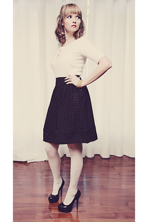 black pumps Aldo shoes - white unknown tights - poka dots modcloth skirt