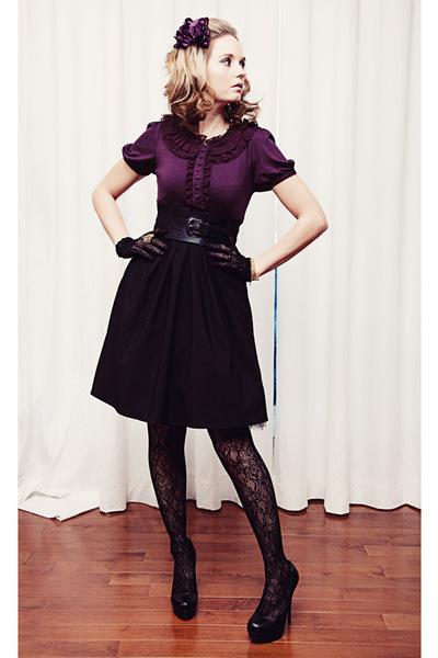 black bryans skirt - black pumps Aldo shoes - black lace Rickis Fashion tights