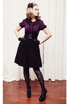 black bryans skirt - black pumps Aldo shoes - black lace Rickis Fashion tights