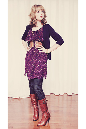 Rag n Bone jeans - brown Aldo boots - purple Forever 21 dress - brown modcloth b