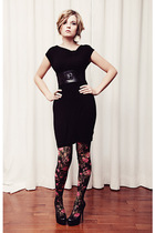 black Fluxus dress - H&M tights - black Aldo shoes - black Jacob belt - brown BB