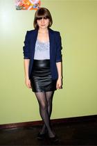 black vintage skirt - black seychelles shoes - blue vintage levis blazer