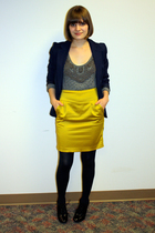 gray Isabel Lu sweater - gold Forever 21 skirt - black payless shoes - blue vint