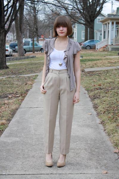 beige Forever 21 shoes - white Love Rocks shirt - beige vintage pants