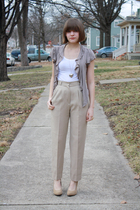 beige Forever 21 shoes - white Love Rocks shirt - beige vintage pants