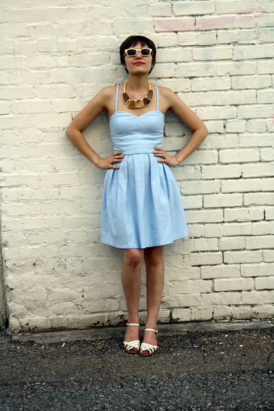 blue Aqua dress - white vintage shoes